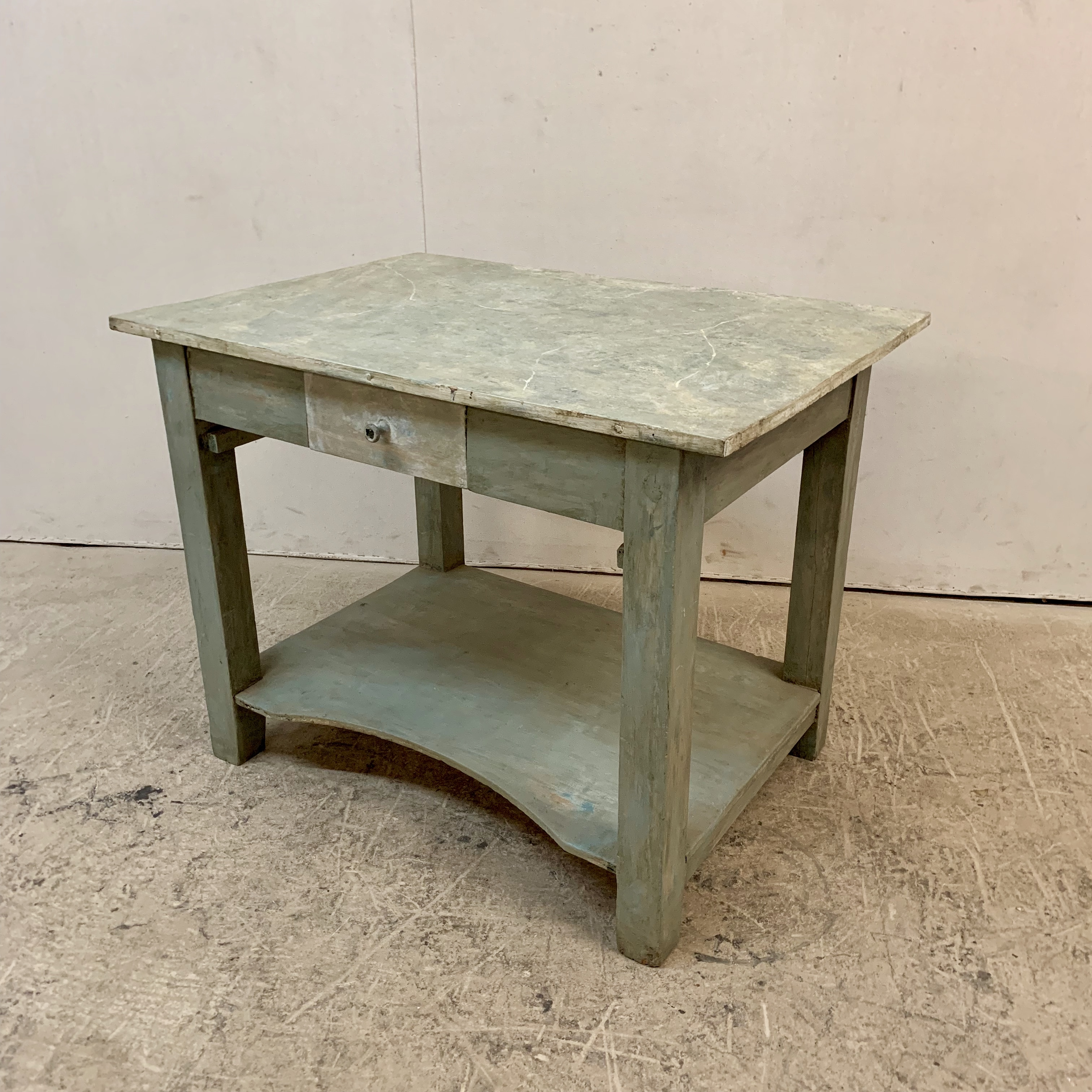Antique Swedish Painted Table w/Lower Shelf