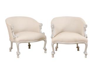 Pair Italian Barrel Accent Chairs