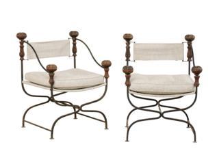 Pair Italian Antique Dante Chairs