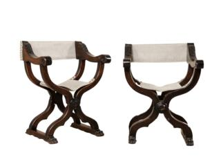 Pair Italian Wooden Dante Chairs