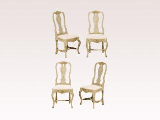 Four Painted Wood Swedish Chairs