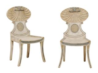 A Pair of Wood Grotto Side Chairs