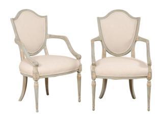 A Pair Italian Shield Back Chairs