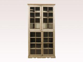 Tall Painted Glass Door Cabinet