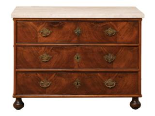 18th C. Swedish Marble Top Chest
