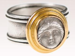Greek Dibol Coin Ring w/22k Gold
