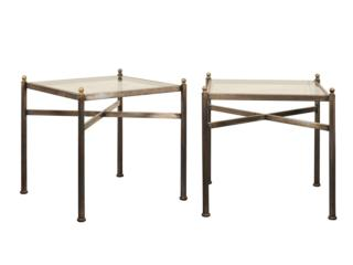 A Pair Glass Topped Metal Tables