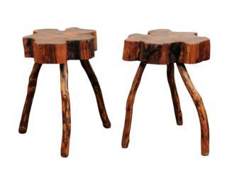 Pair of Rustic Wood Drinks Tables