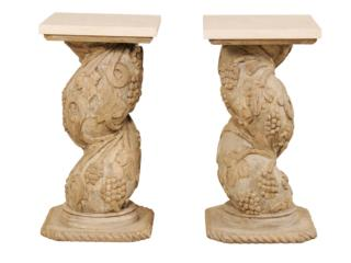 Italian Carved Pedestal Tables