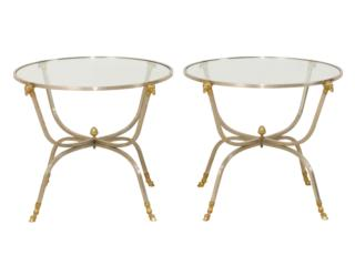 Pair of Italian Glass Top Tables
