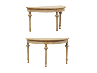 Pair of Painted Demi-Lune Tables