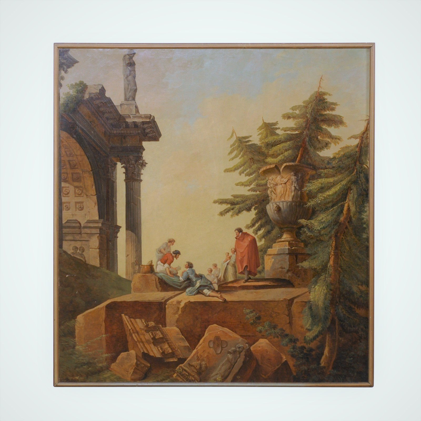 Classical Romanesque Ruins Painting, 19th C