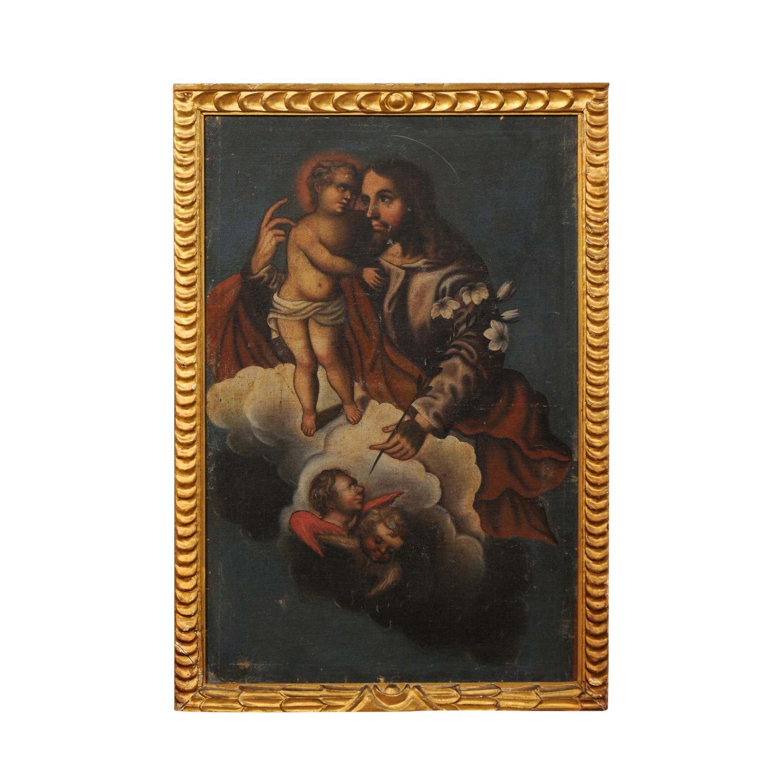 19th C. Framed Painting of Jesus w/ Child