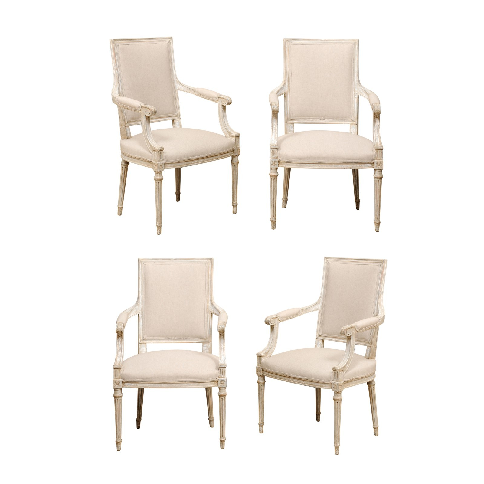 Set of Four French Upholstered Armchairs