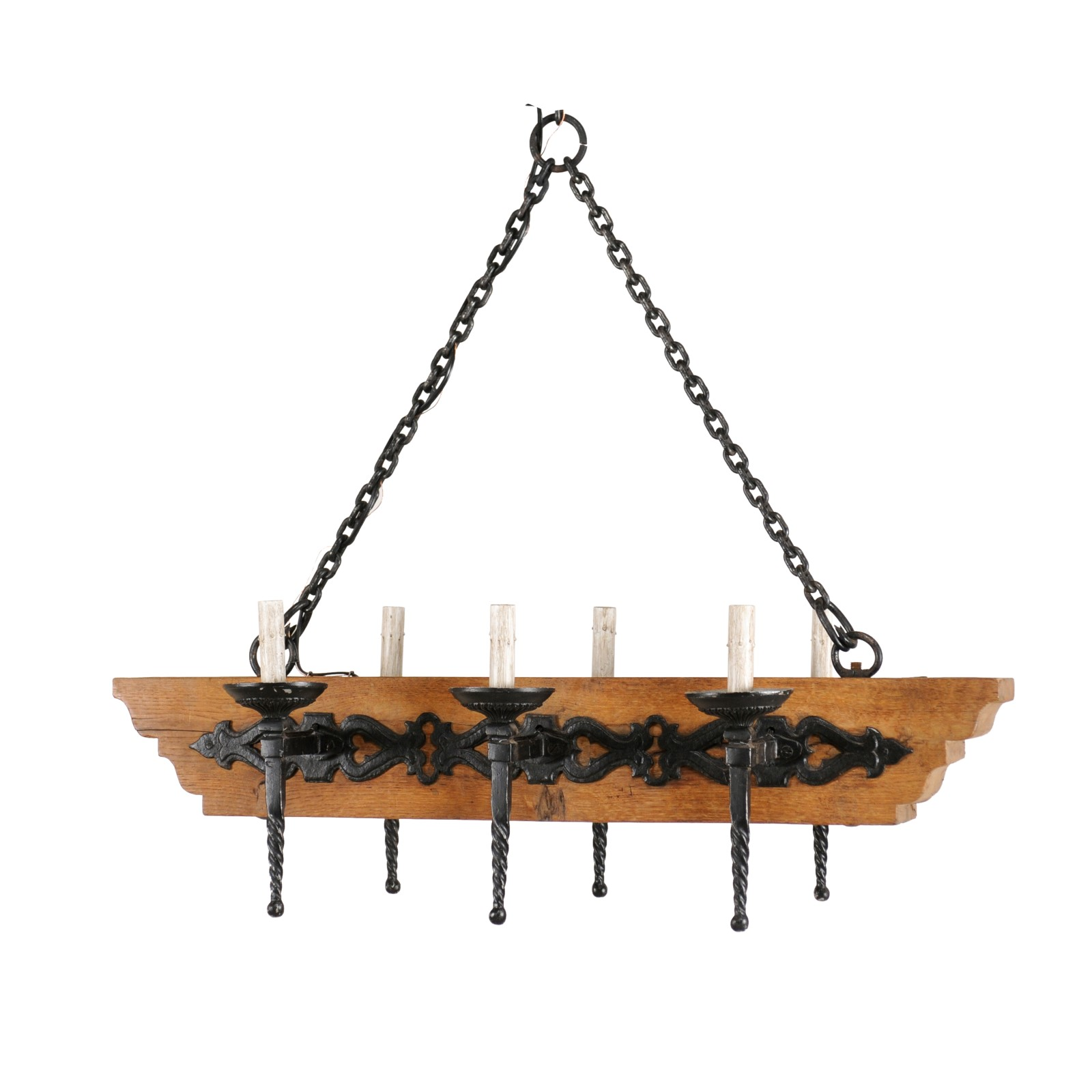 French Wood & Iron Chandelier
