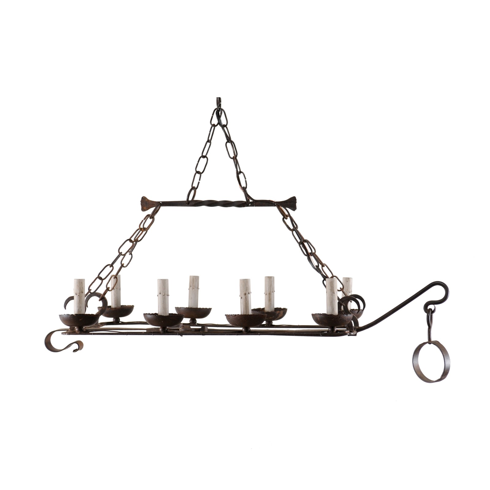 French Iron Spit-Jack Chandelier