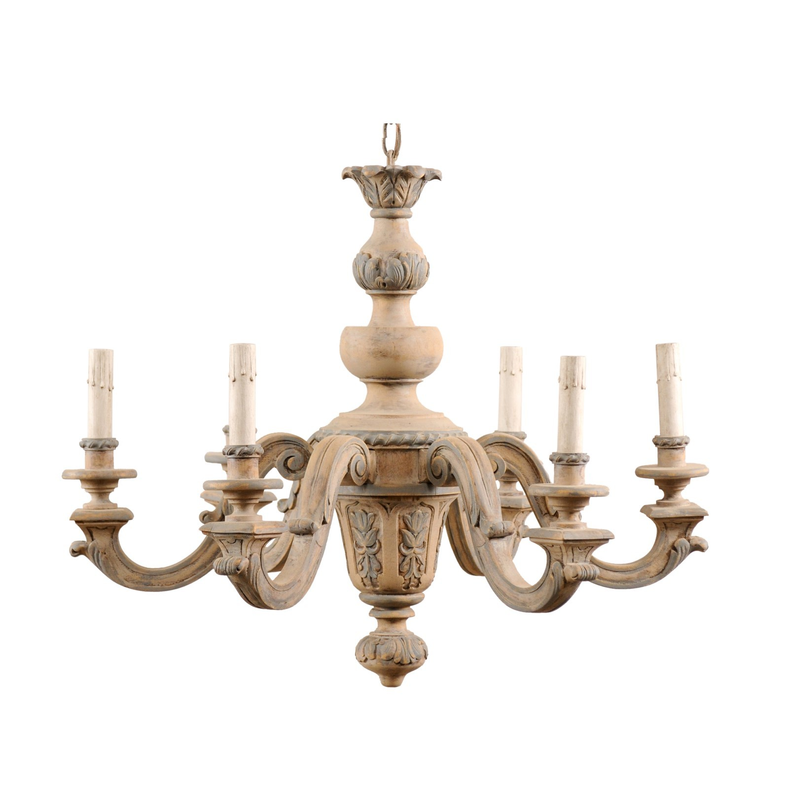 Carved Wood Six Light Chandelier
