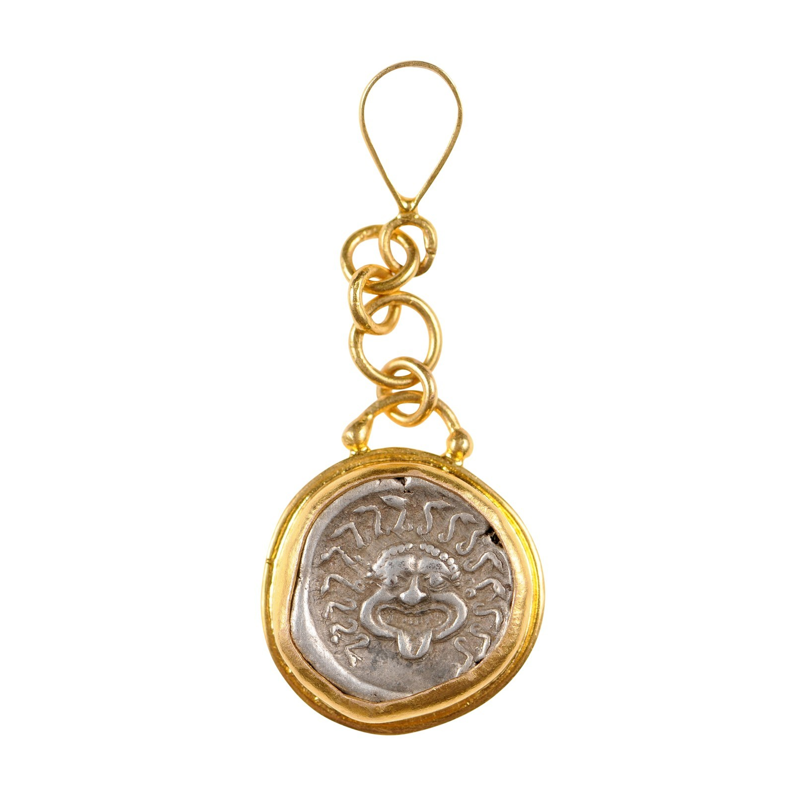 Ancient Greek Coin in 22k Drop Pendant
