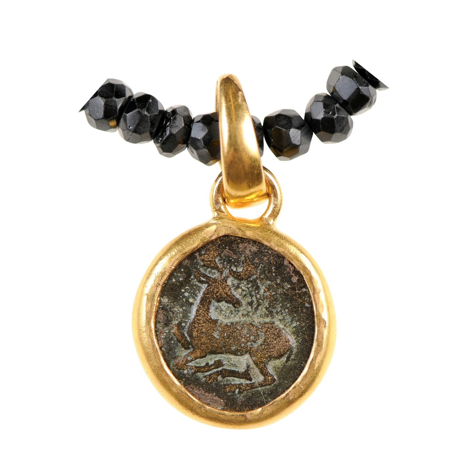 Ancient Bee & Stag Coin in 22k Pendant