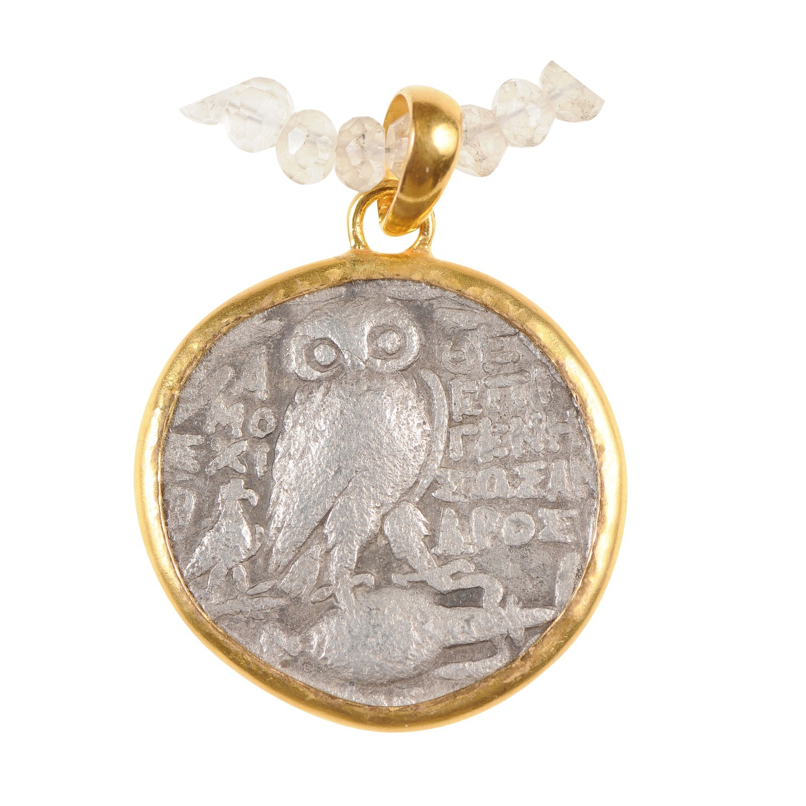 Ancient Greek Owl Coin in 22k Pendant