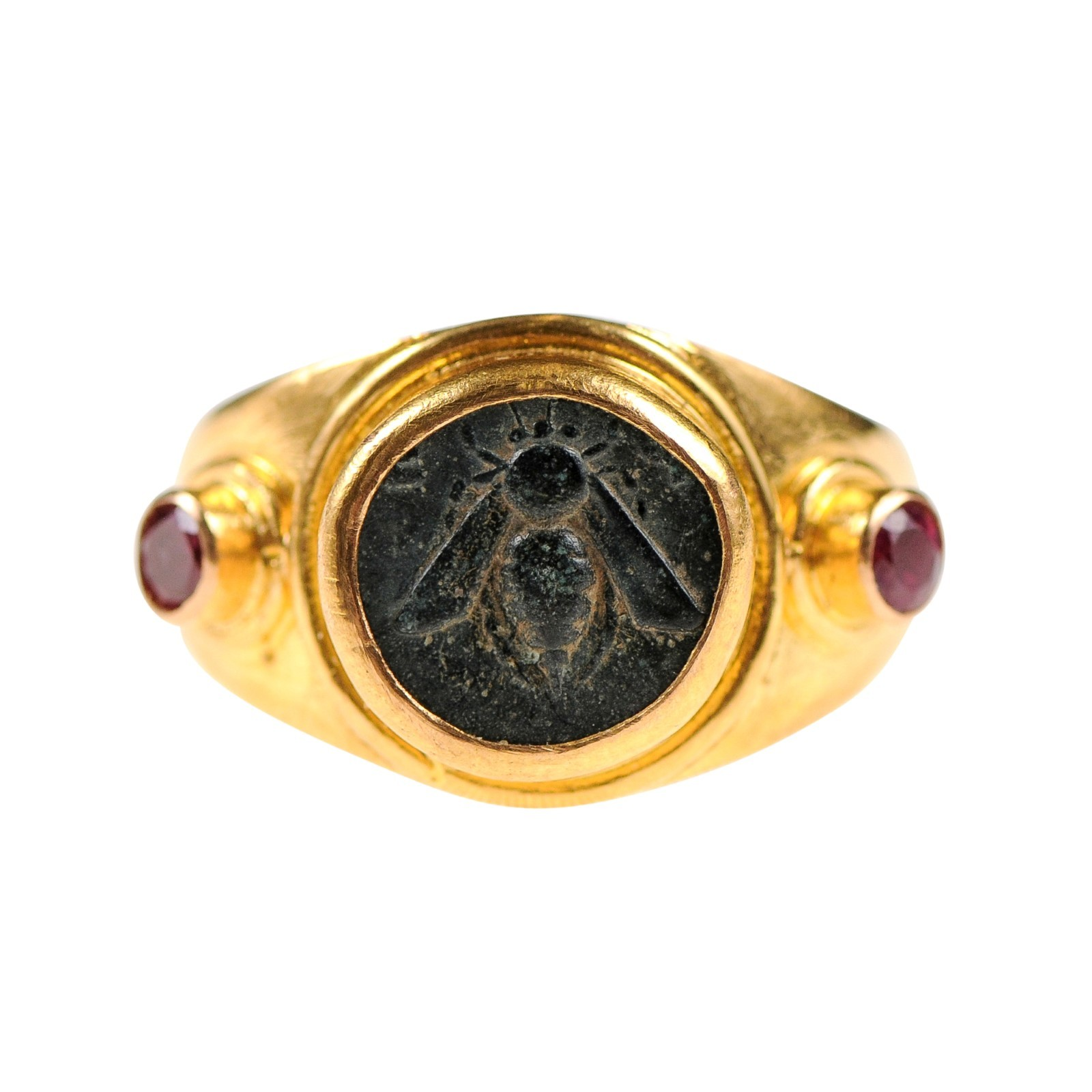Ancient Bee Coin in 22k Ring w/Rubies