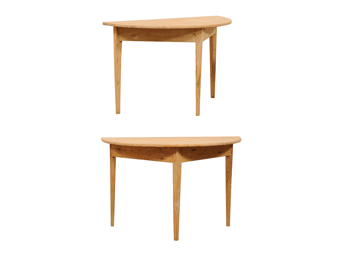 A Pair Swedish Demi-Lune Tables