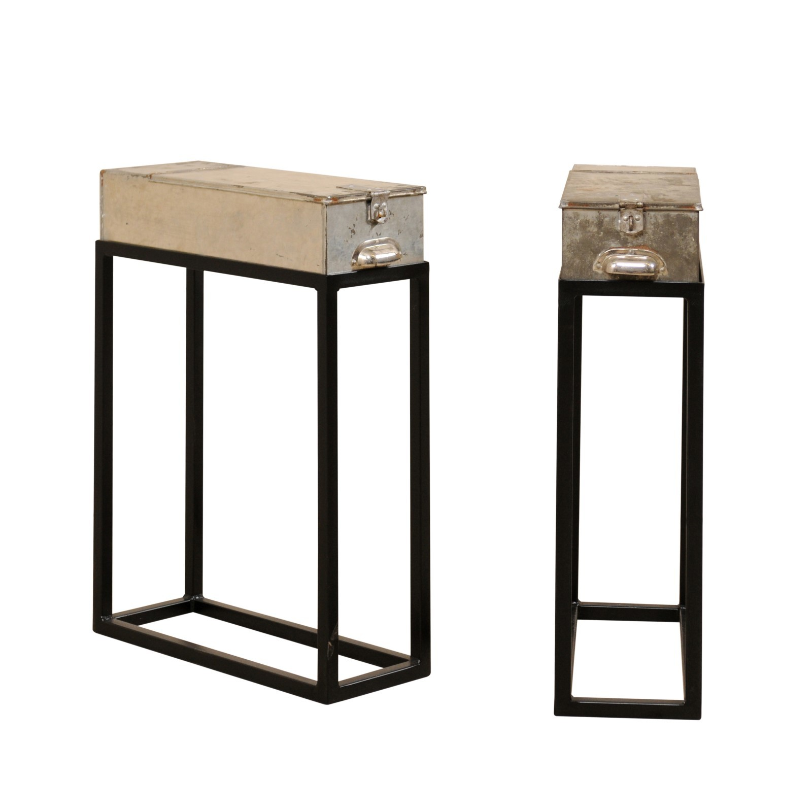Pair French Bank Box Side Tables