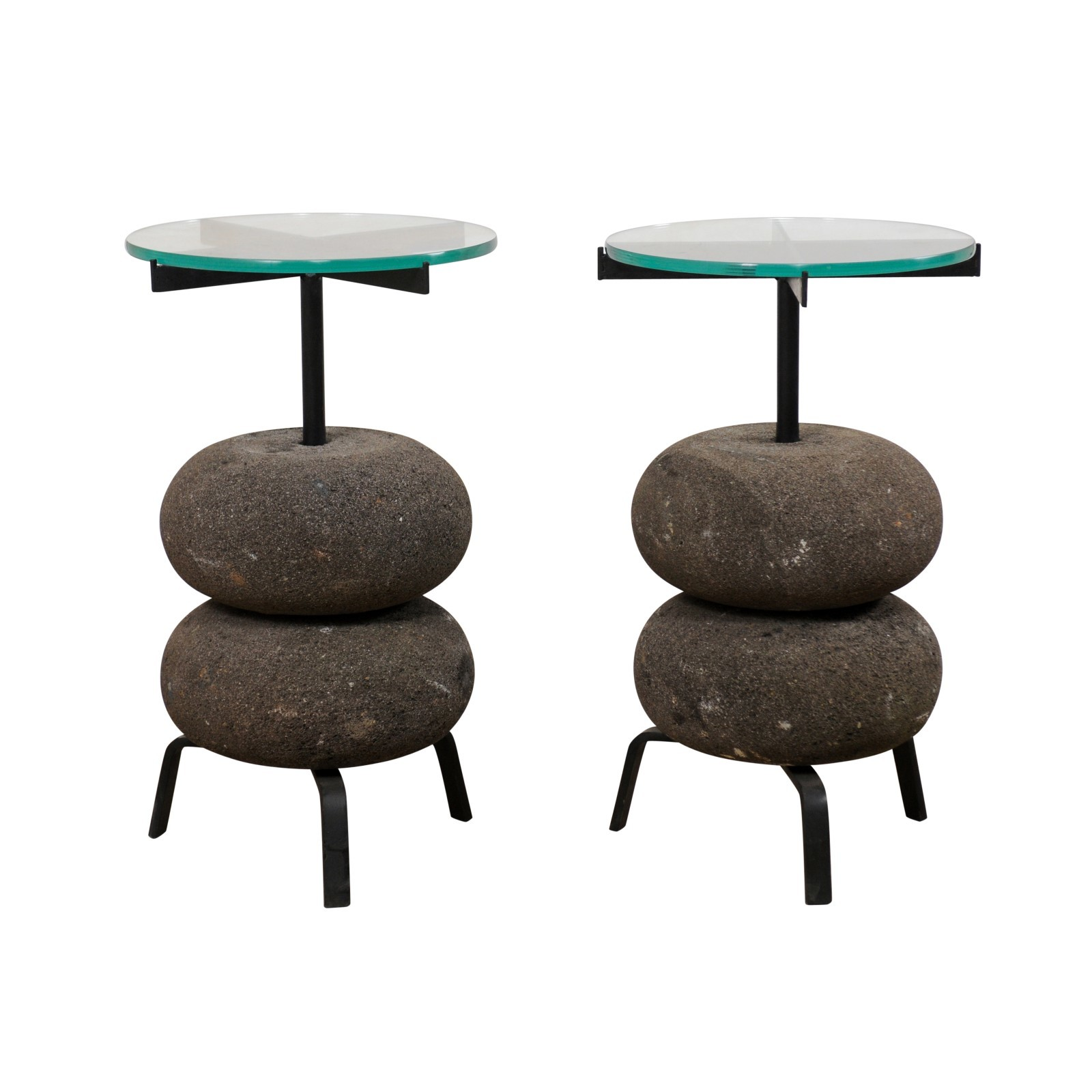 Pair Stone base Drinks Tables