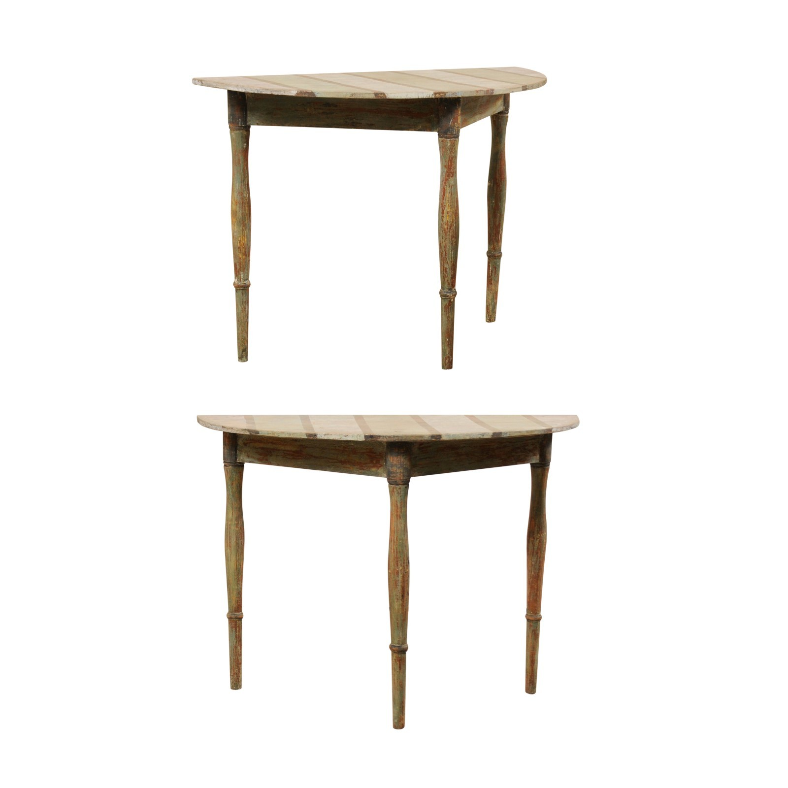 Pair Striped Top Demi-lune Tables