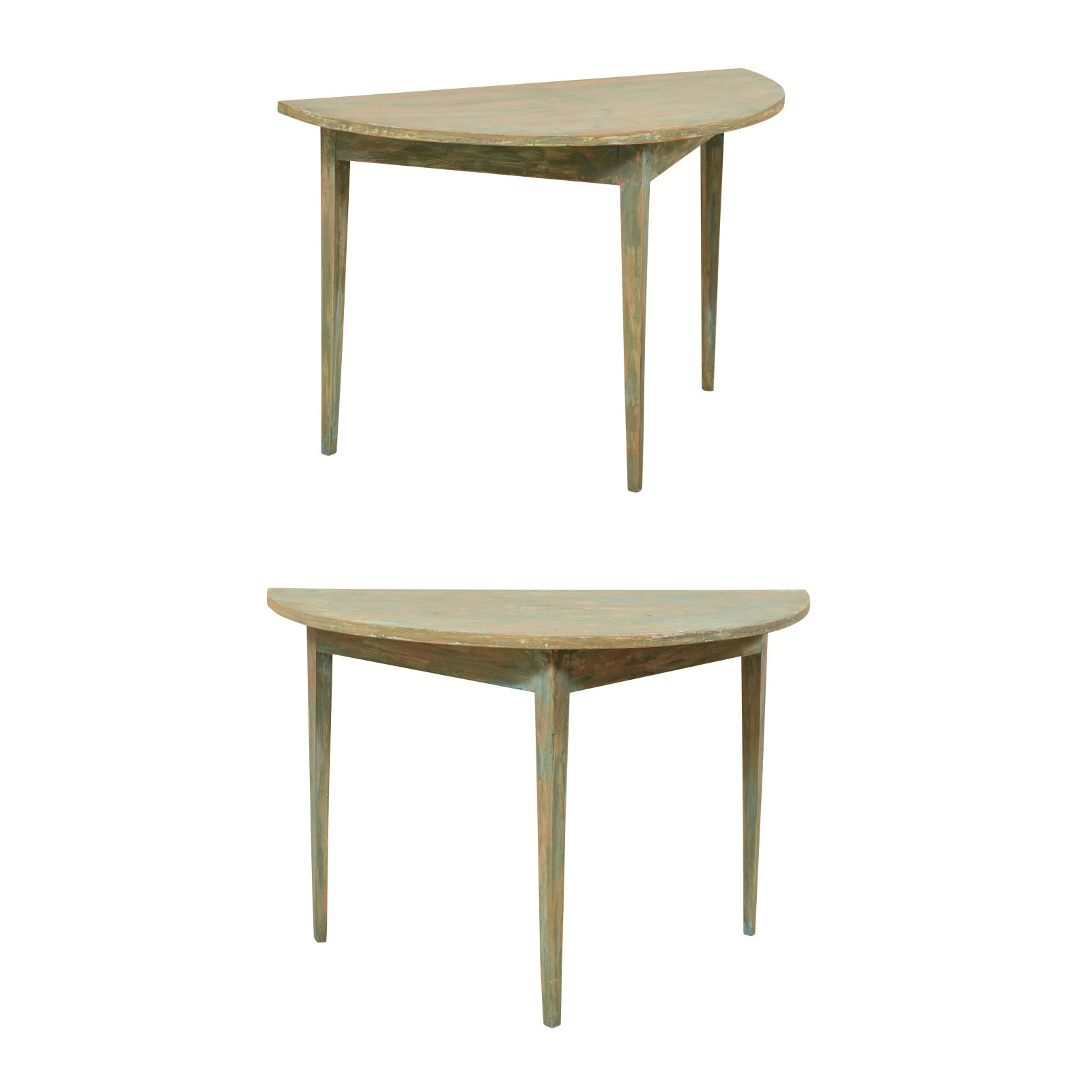 Pair Swedish Half-Moon Demi Tables