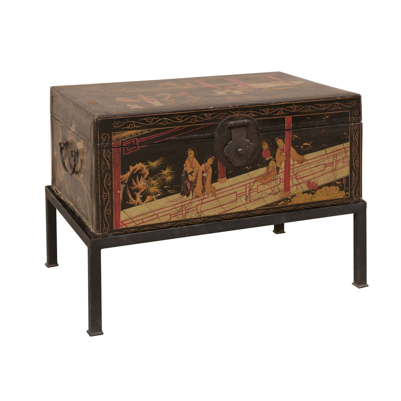 Chinese Hand-Painted Trunk on Stand