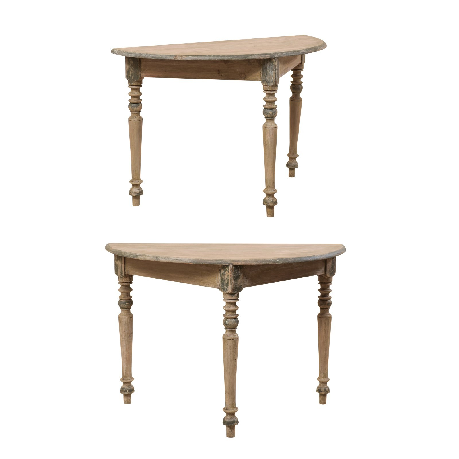 Swedish Demi-Lune Tables w/Turned Legs