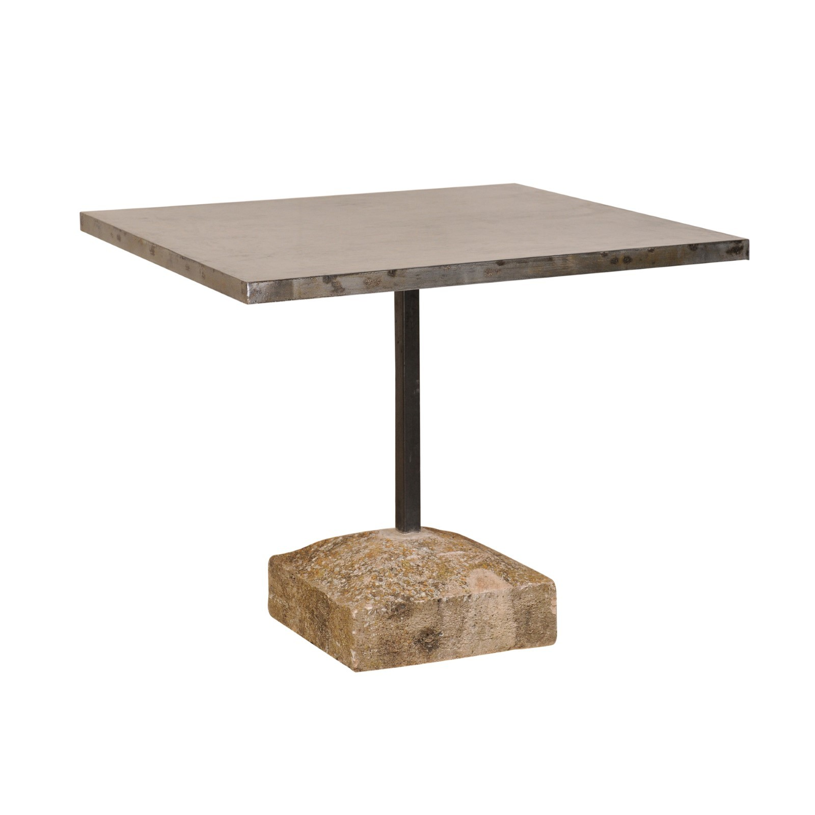 Square Iron Top Table w/Antique Stone Base