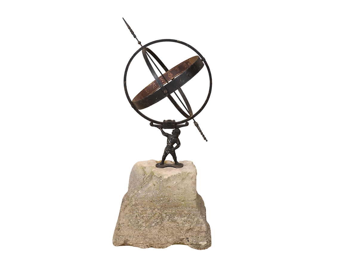 Swedish Atlas Armillary w/Stone Plinth