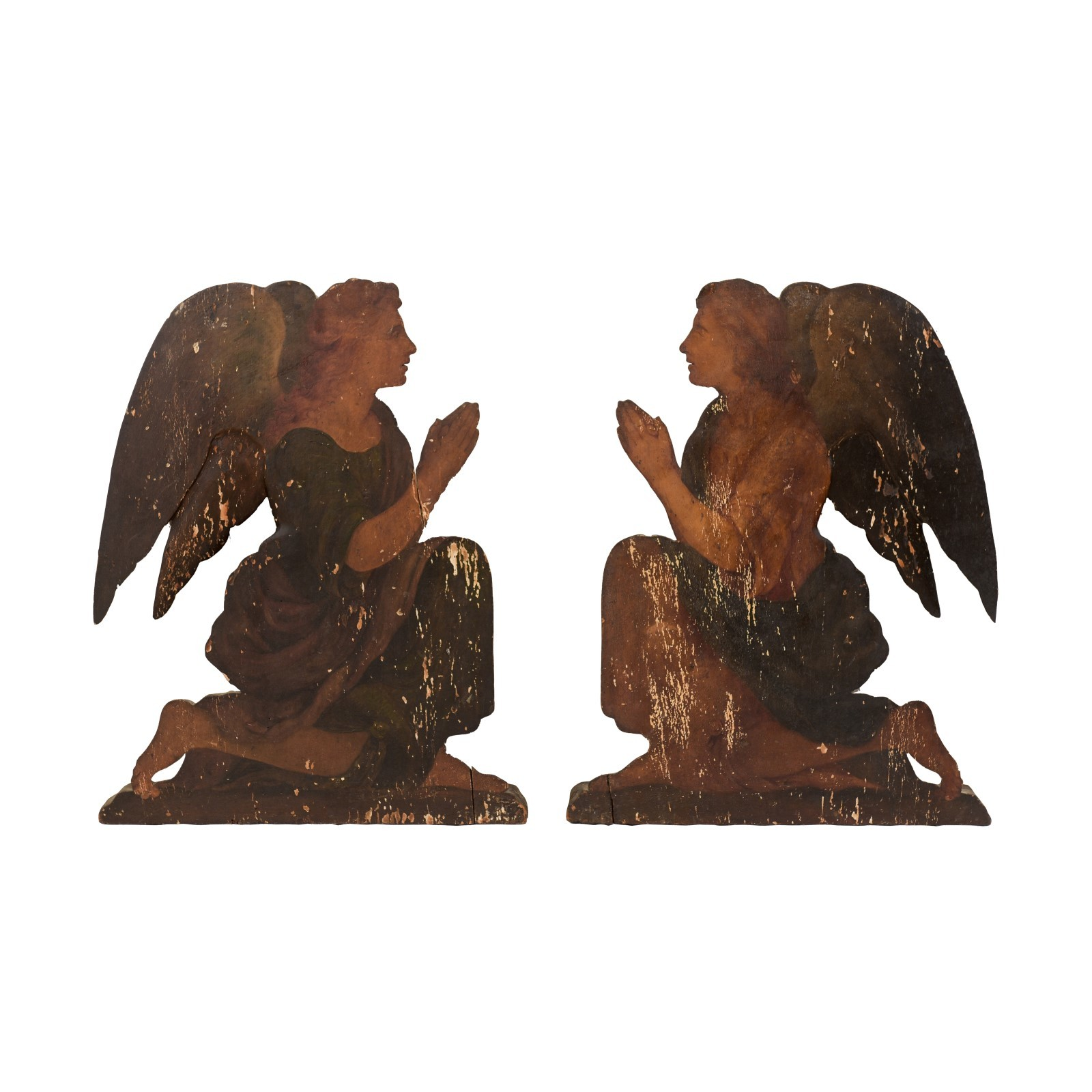 Pair of Italian 19th C. Angel Plaques