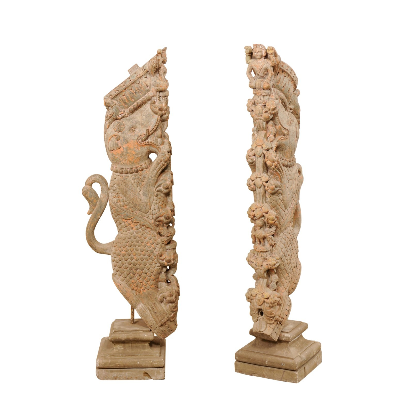 Pair of Hand-Carved Hindu Temple Struts