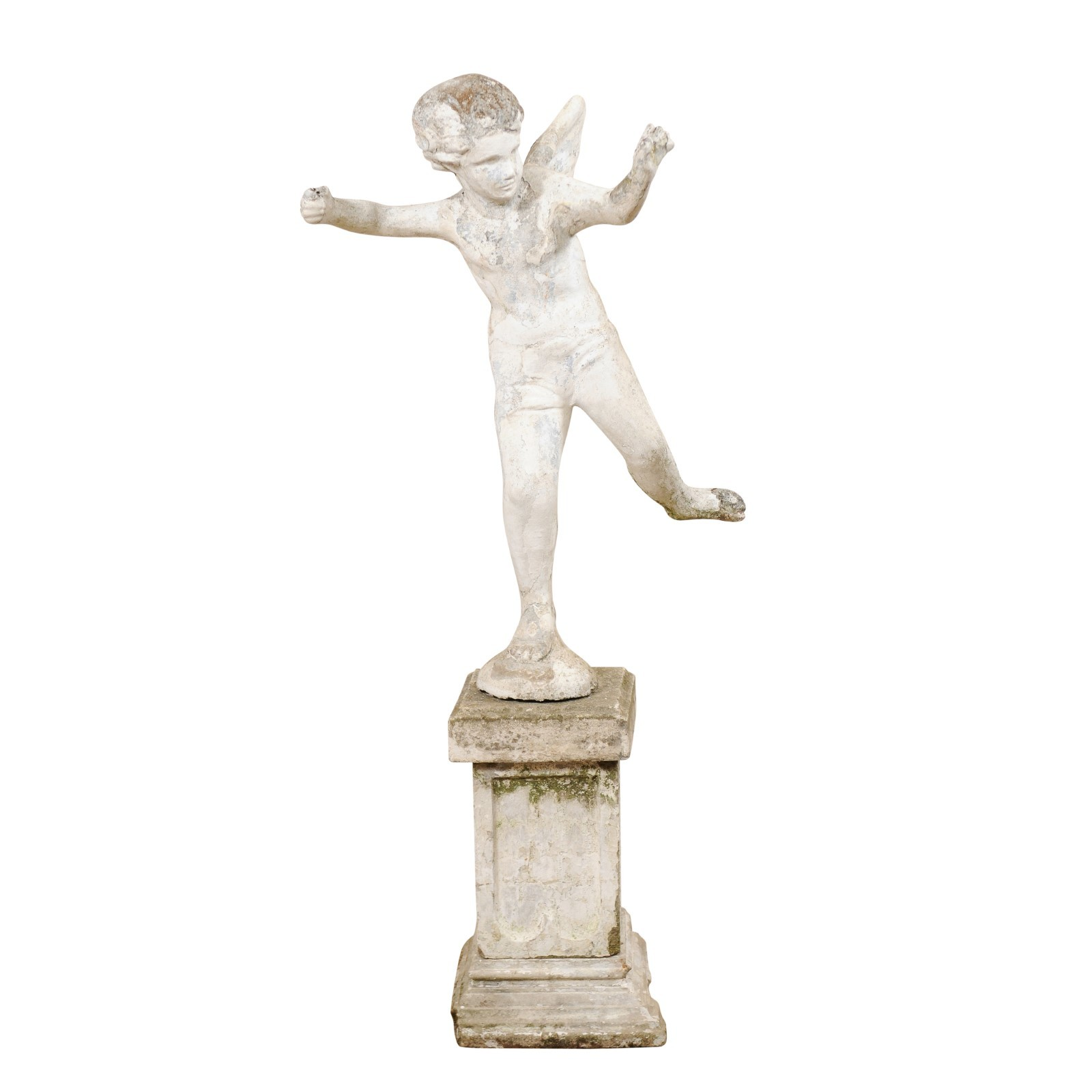 French Antique Cupid Garden Statue, 5+ ft