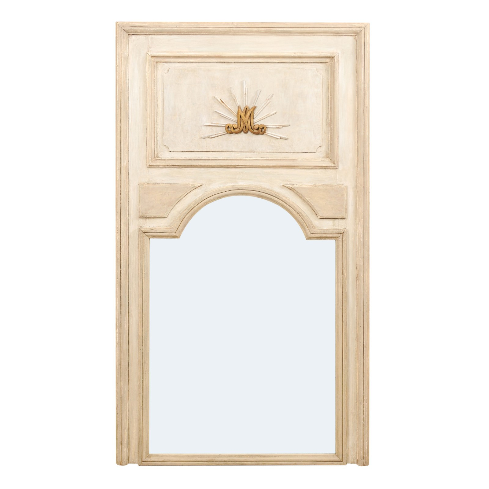 French 19th C. Trumeau Mirror w/Arch, 6+ ft