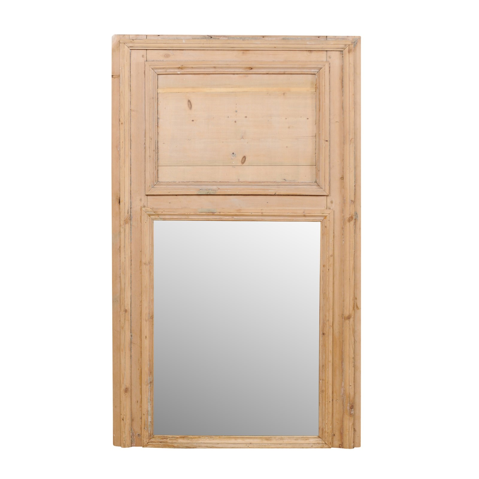 French Natural Wood Mirror, 19th C