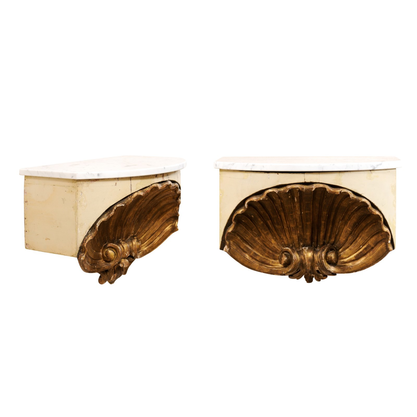 Pair Italian Shell Carved Wall Shelves