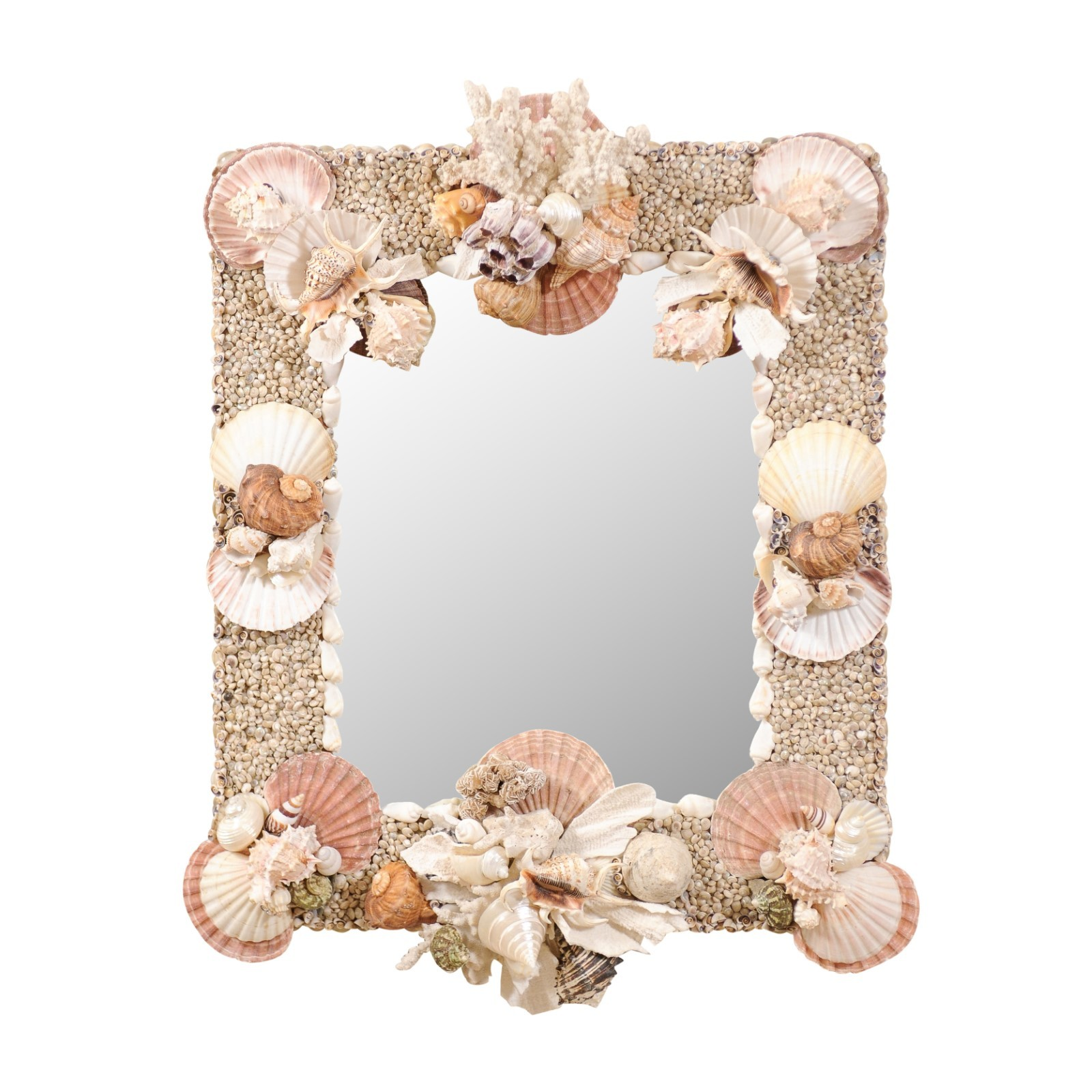 An Elegant Sea Shell & Coral Mirror