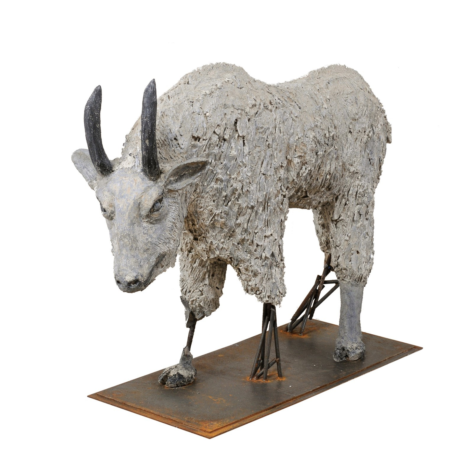 French Mountain Goat Statue, 3+ Ft Tall
