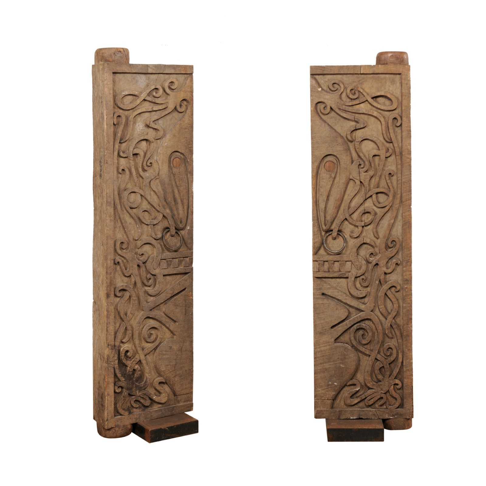 Pair Carved Doors from Borneo on Stands