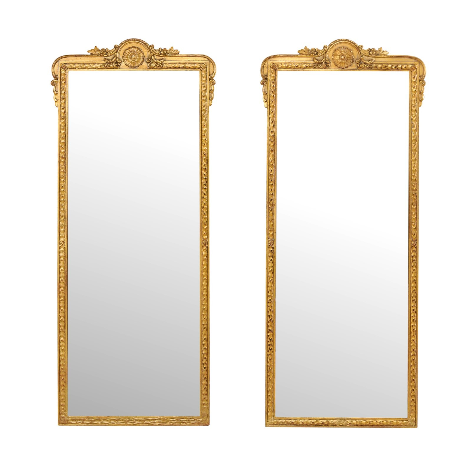 A Pair of Giltwood Mirrors, 4+ ft Tall