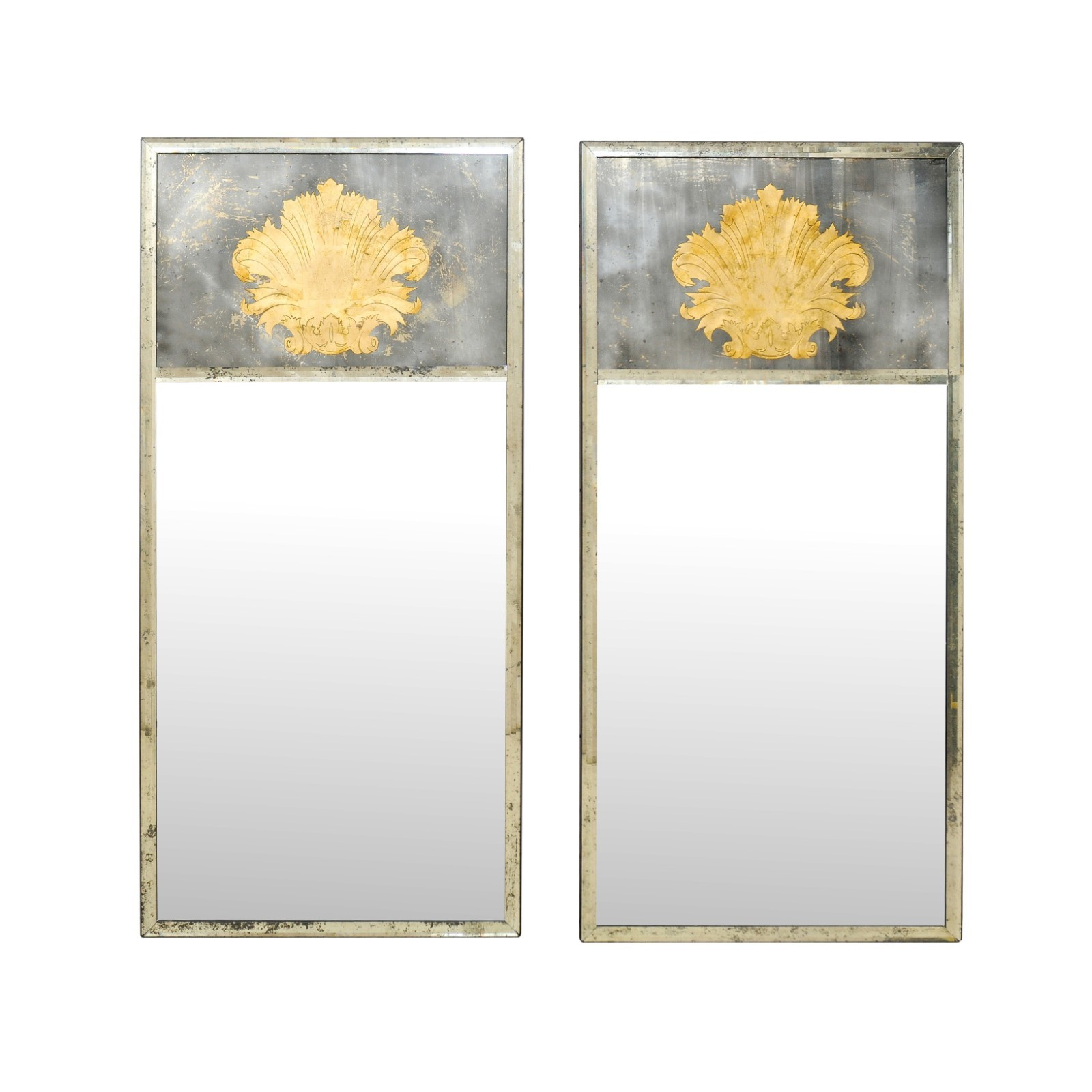 Pair of Tall Mirrors w/Fanned Acanthus Leaf