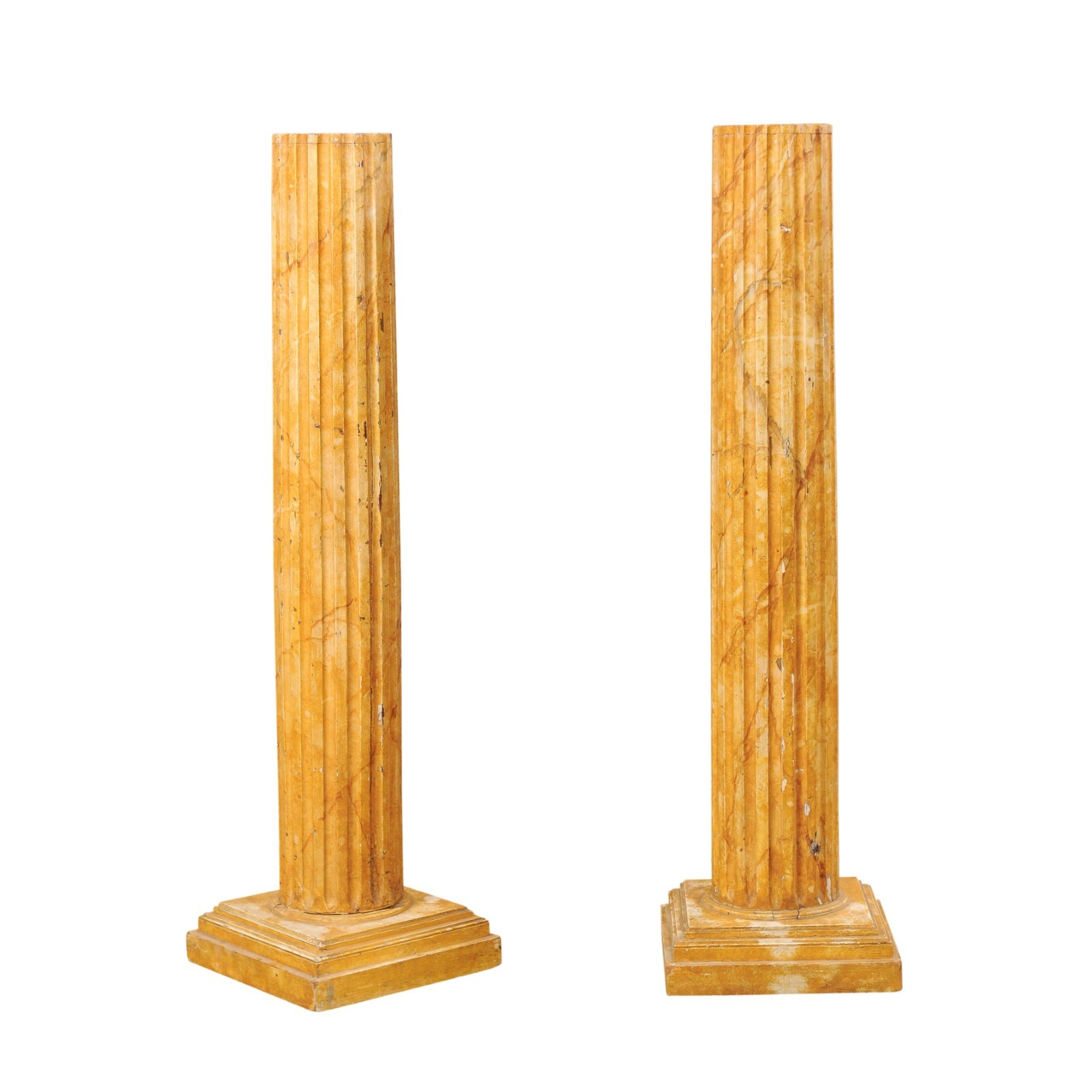 A French pair of Fluted Columns, 5.5 Ft