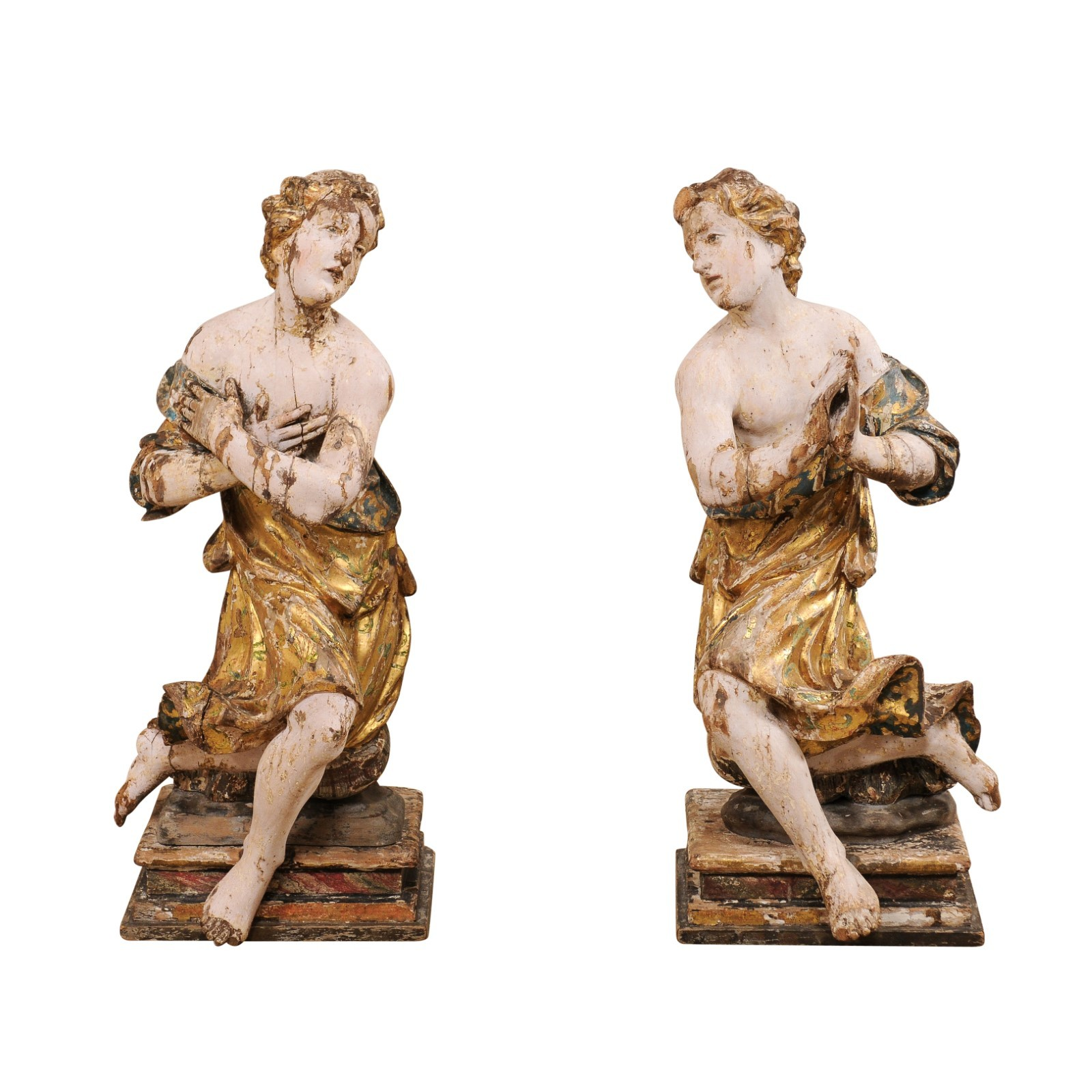 Pair Early 18th C. Italian Carved Figures