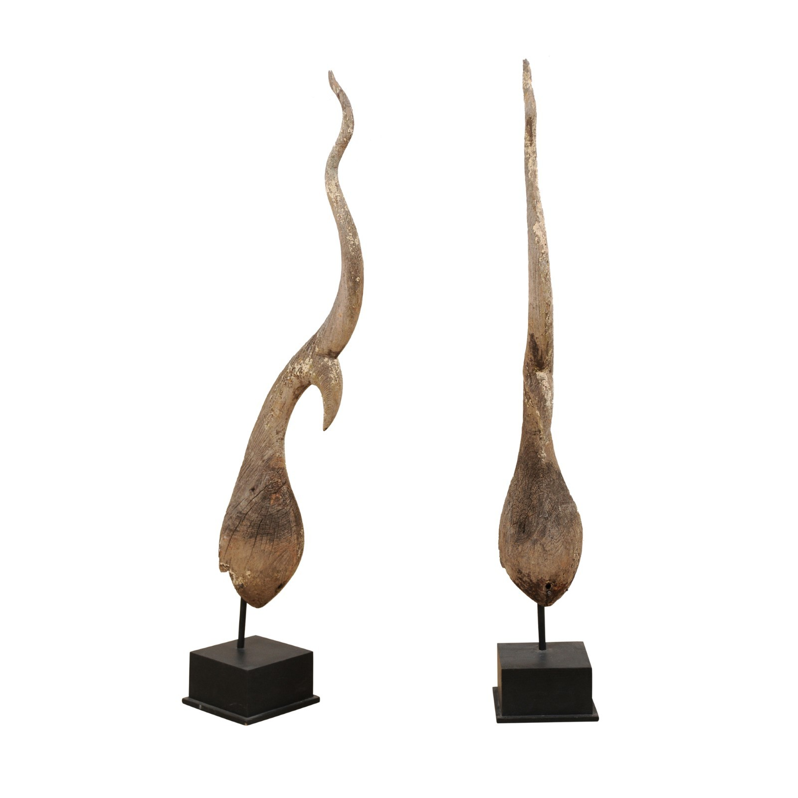 Pair 19th C. Chofa Temple Spires, 5.75 Ft