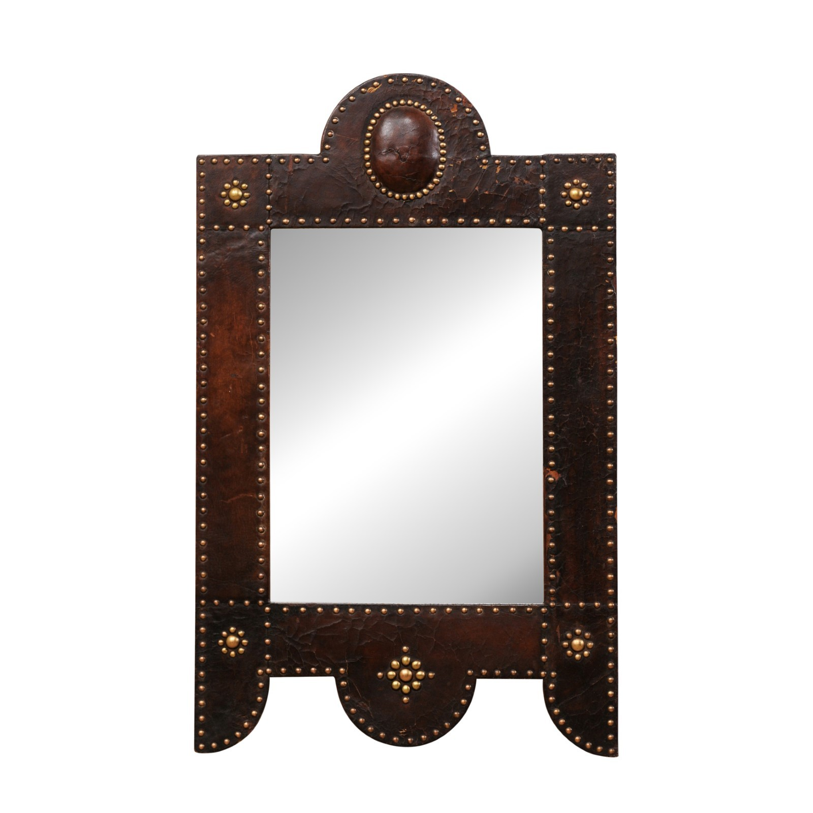 Spanish Mirror w/ Leather & Brass, 19th C.