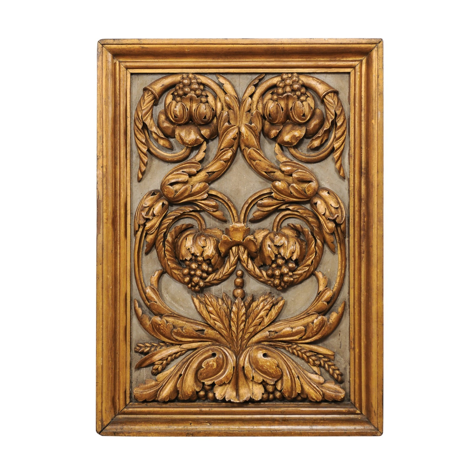 "19th c ""Grapes"" Carved & Gilt Plaque, Spain"